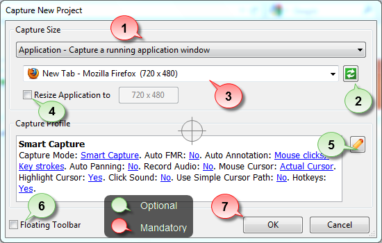 Select an application to capture