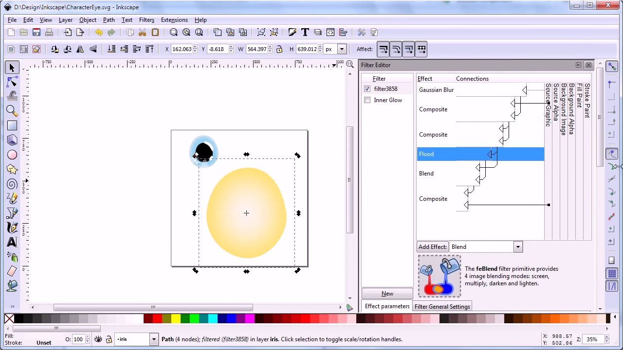 Draw character eyes with Inkscape