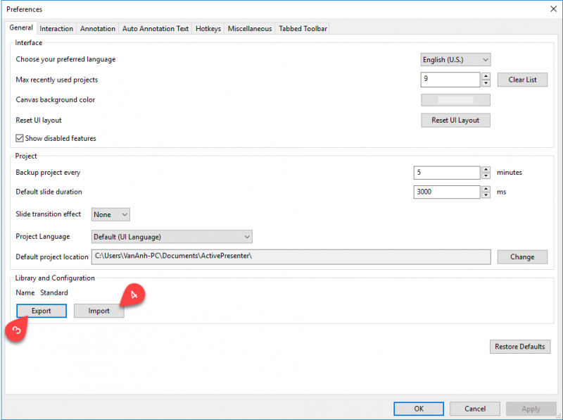 Importing Preferences