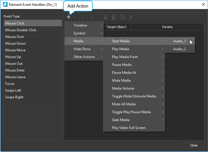 Add events - actions to create interactive HTML5 content.
