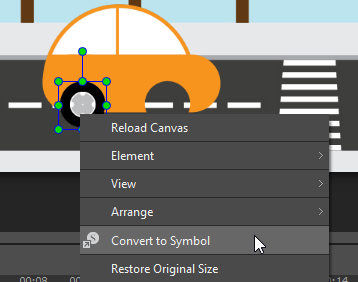 Convert any elements on the Canvas to a symbol.
