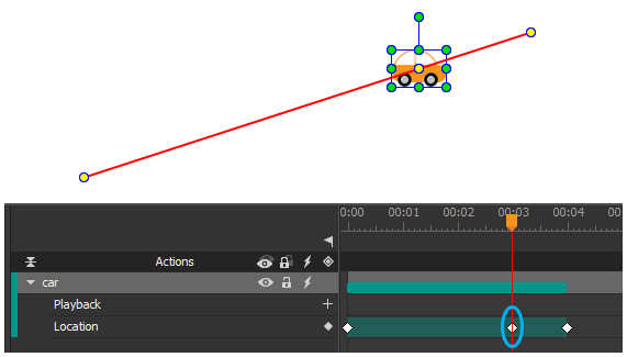 Add a Location keyframe to create a key anchor point.