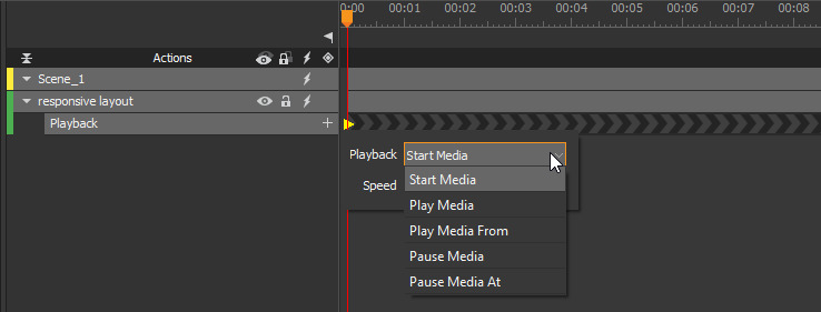 Create playback animation to play video and audio without user control.