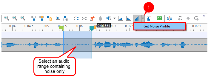 Specify an audio range containing noise only