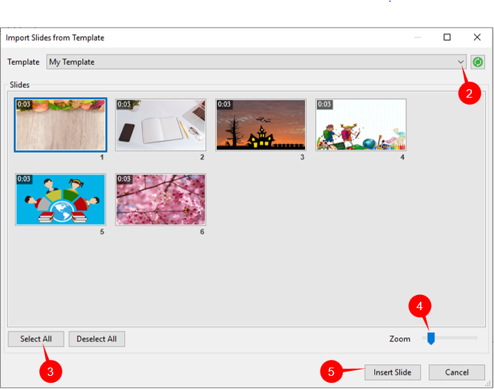 Import Slide from Templates in ActivePresenter 7