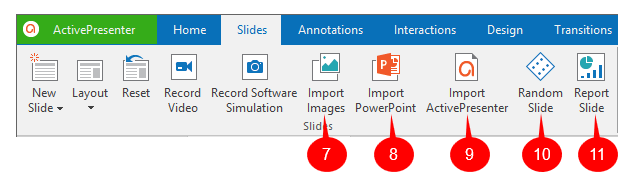 Buttons to import slides from other files
