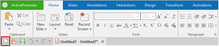 Select the Create blank project button in the Quick access toolbar