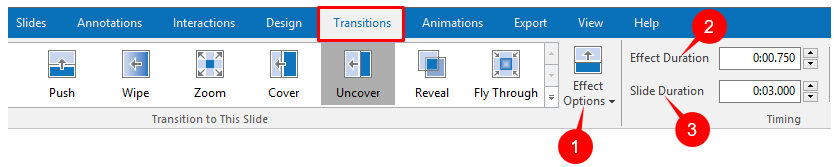 Transitions tab in ActivePresenter 7