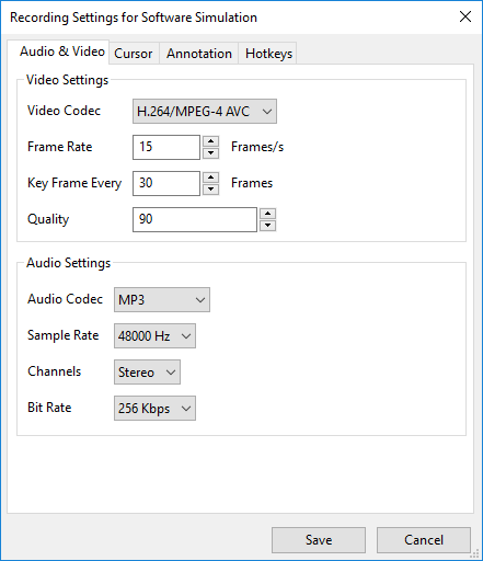 Video and Audio tab