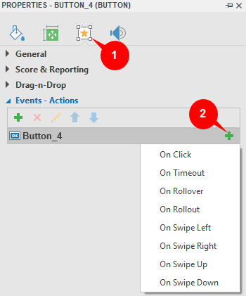 Add events - actions to buttons