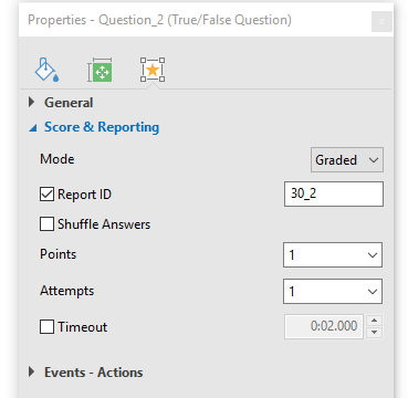 Components of Score and Reporting Section