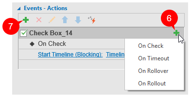 Add event actions to check boxes or radio buttons.