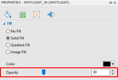 Spotlight helps you easily direct your audience attention to a specific part of a slide.