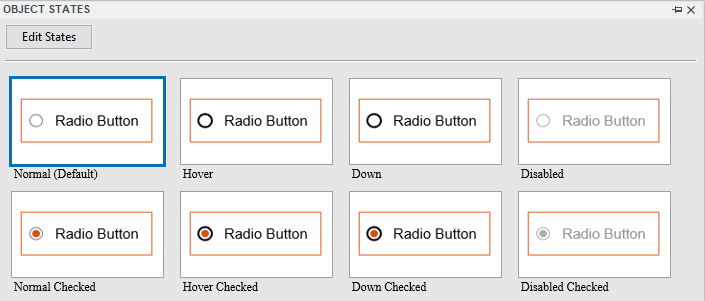 Check boxes/radio buttons come with eight built-in states.