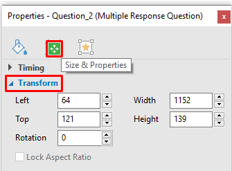 How to Resize Multiple Response Question