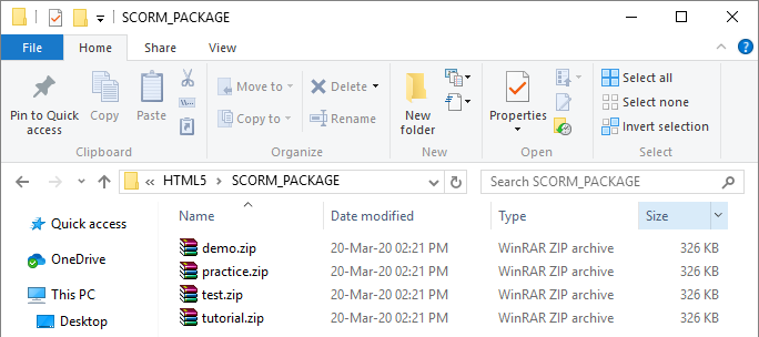 Your SCORM/xAPI package is put in a ZIP file that can be directly uploaded to an LMS.
