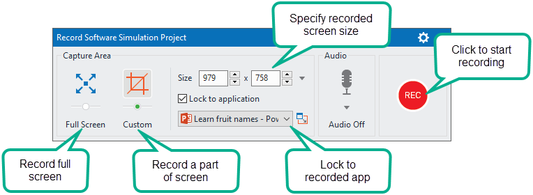 Record software simulation project dialog