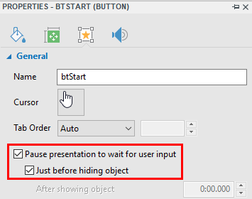 Pause to wait for user input-start button
