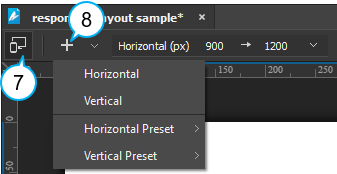Add breakpoints using the responsive toolbar.