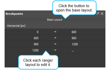 Use the Breakpoints pane to choose a layout to edit.