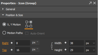 Overridden properties, animations, and the elements contain them are marked orange.