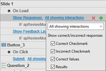 Click All showing interactions to see four default types of responses.