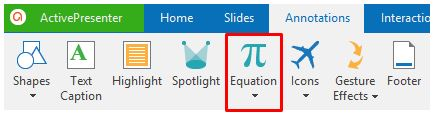 Go to the Annotations tab and select Equation.