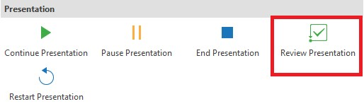 Go to the Properties pane of Review Course button, select On Click Event and then choose Review Presentation action from the action menu.
