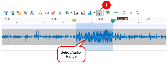 Select an audio range to normalize