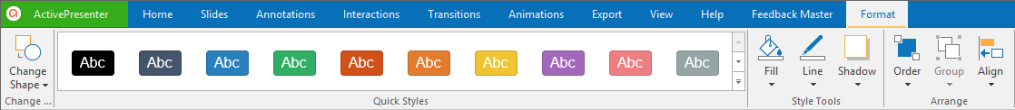 To design the button of the layout, select the button > Format tab > change the shape, styles, etc., for the button.