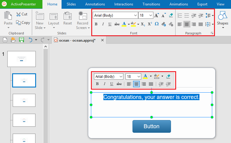 To change the text font, size and color, select the text, then use the button and commands in the Home tab or the toolbar that appears