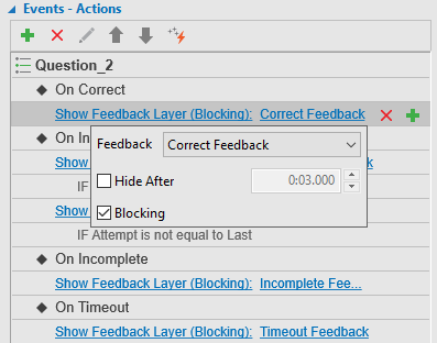 the default action of the On Correct event is Show Correct Feedback Layer.