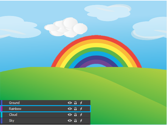 Sending the rainbow element backward means that you move it one step to the bottom.