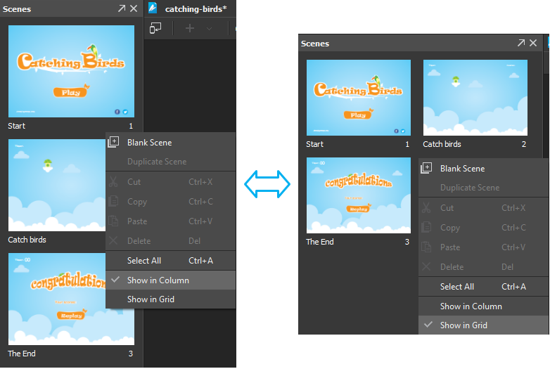 Saola Animate provides two modes to display scene thumbnails, which are Show in Column and Show in Grid.
