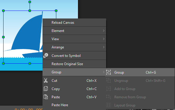 You can right-click the elements > Group > Group.