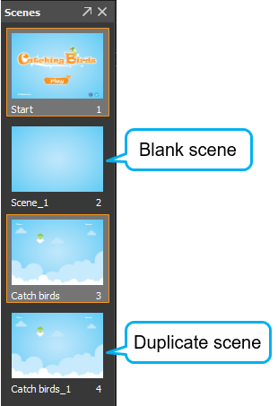 A blank scene or a duplicate scene will be inserted right below the last selected scene from which its size and background property will be inherited.