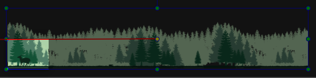 On the Canvas, drag the image to the right of the scene. This creates a red line indicating the path of the motion.