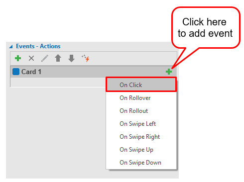 Add On Click event to Card 1