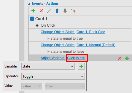 Adjust variable for a basic interactive flashcard