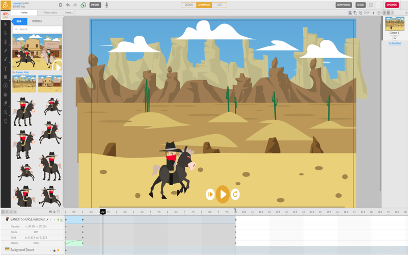 Animatron Studio is known as one of the most simple and powerful web-based HTML5 animation tools.