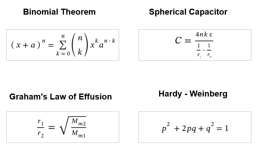 some common equations