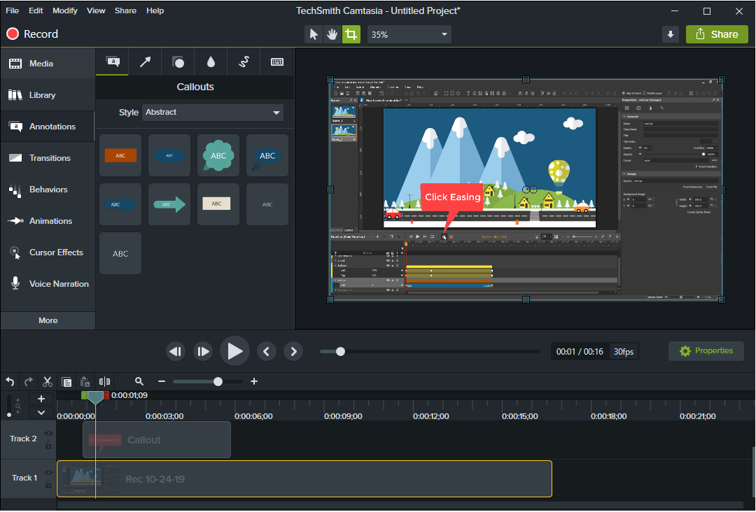 Camtasia user interface.