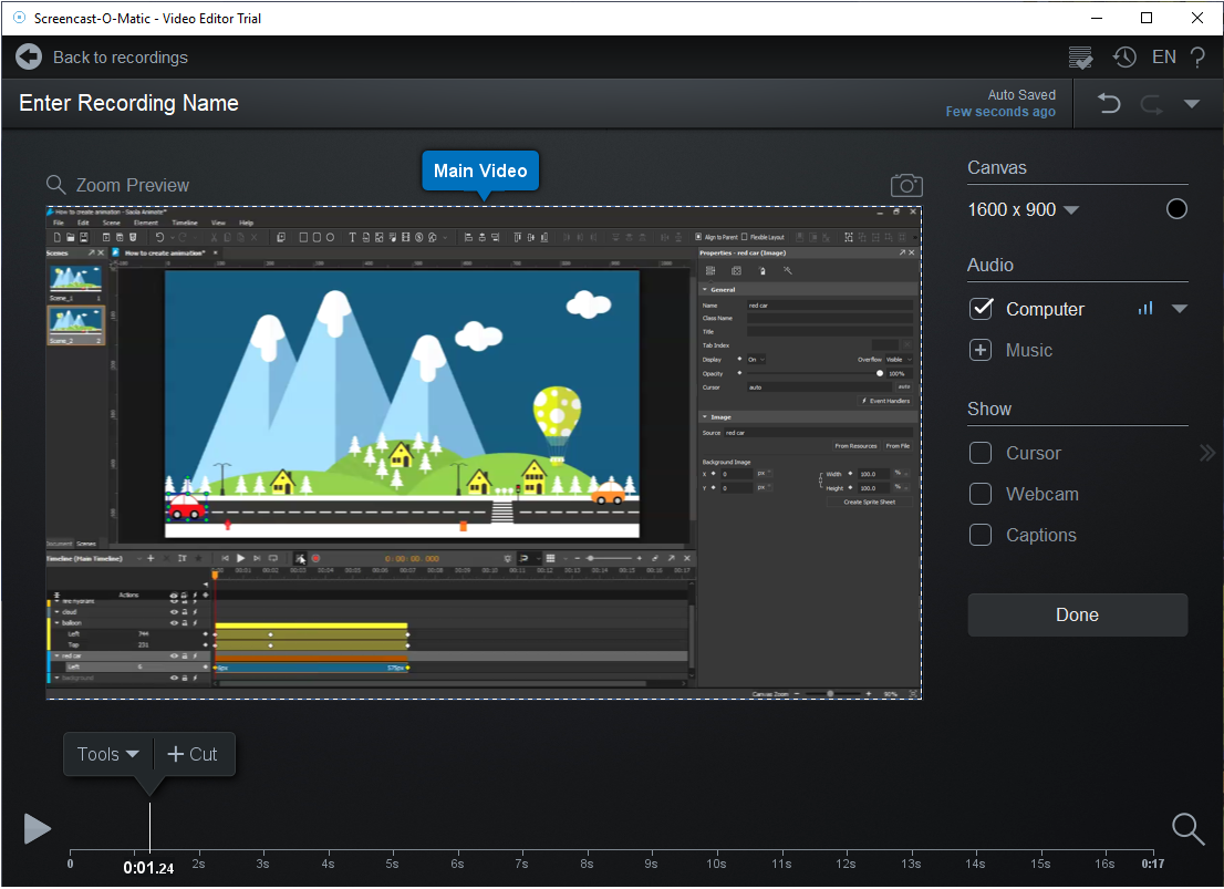 Screencast-O-Matic user interface for video editing.