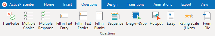 The Questions tab including all built-in interactive question types, tools, and commands allows you to create engaging eLearning quizzes with just a few clicks.