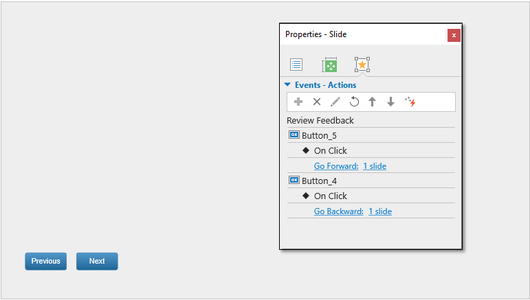 Actions for navigation buttons