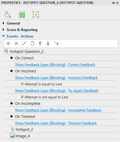 Add events - actions for a hotspot question