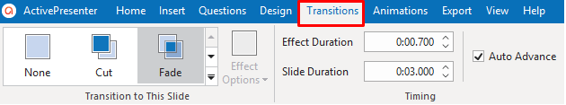 Add slide transition effects in the Transitions tab
