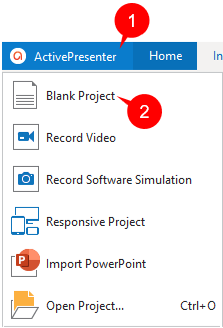 Create a blank project in the ActivePresenter button.