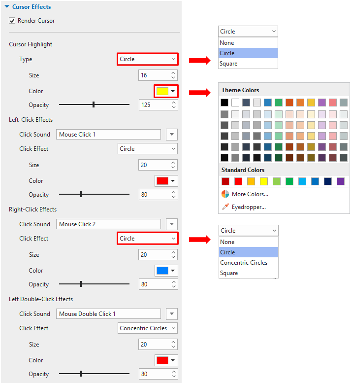 You can come to the Cursor Effects section in the Properties pane and change the attributes you want.