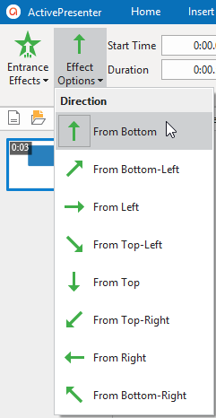 Choose one direction from the Effect Options drop-down list.
